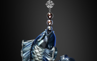 """LONGMEN"" titanium, natural pearls and diamonds Chinese dragon-carp pendant"