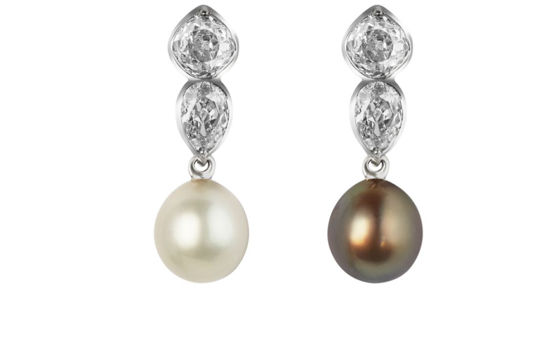 """Lee"" boucles d'oreilles convertibles diamants et perles fines"